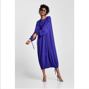 ZARA Balloon Sleeve Drawstring Maxi Long Dress